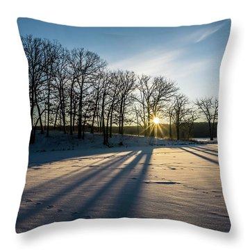 Pretty Winter Sun Rise Scene Throw Pillow