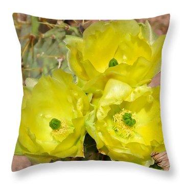 Prickly Pear Cactus Trio Bloom Throw Pillow