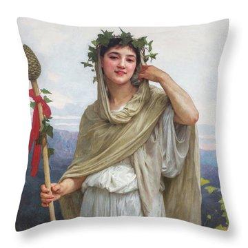Priestess Of Bacchus, 1894 Throw Pillow