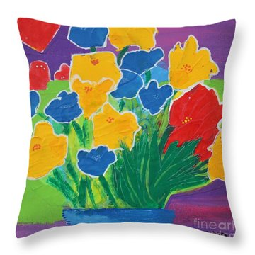 Throw Pillow featuring the painting Primary Bouquet by Kim Nelson