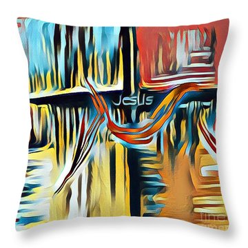 Throw Pillow featuring the mixed media Primary Colors by Jessica Eli