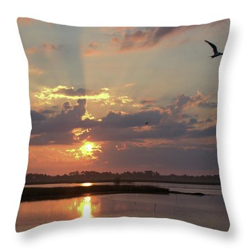 Throw Pillow featuring the photograph Prime Hook Sunrise 2 by Buddy Scott