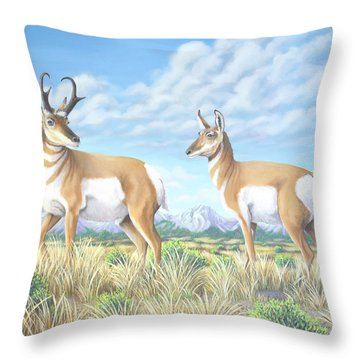 Pronghorn By The Tetons Throw Pillow
