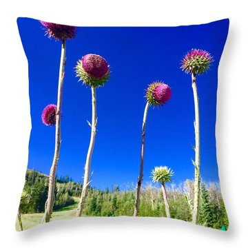 Proud Mountain Flowers Throw Pillow