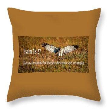 Throw Pillow featuring the mixed media Psalm 18 27 Humble by Jeff Phillippi
