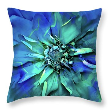 Throw Pillow featuring the digital art Psychedelic Blues by Cindy Greenstein