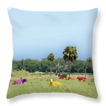 Psychedelic Cows Throw Pillow