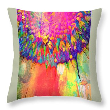 Psychedelic Daisy Throw Pillow