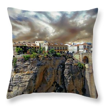 Throw Pillow featuring the photograph Puente Nuevo Bridge by Anthony Dezenzio