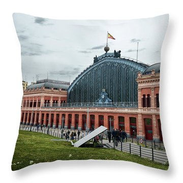 Puerta De Atocha Railway Station Throw Pillow