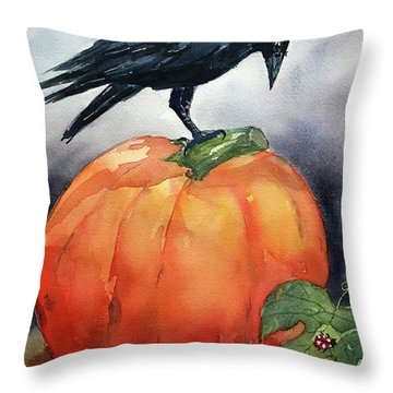 Pumpkin And Crow Throw Pillow