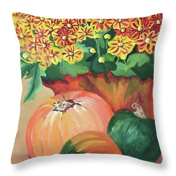 Pumpkin With Flowers Throw Pillow