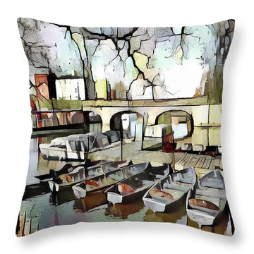 Throw Pillow featuring the digital art Punting On The Thames - Watercolour by Pennie McCracken