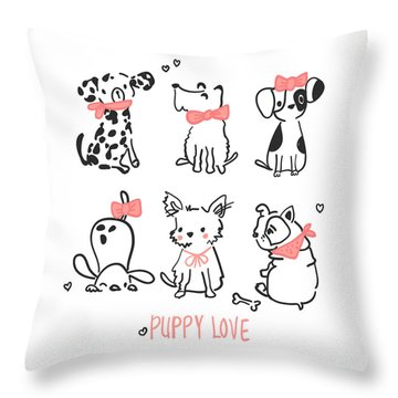Puppy Love - Baby Room Nursery Art Poster Print Throw Pillow