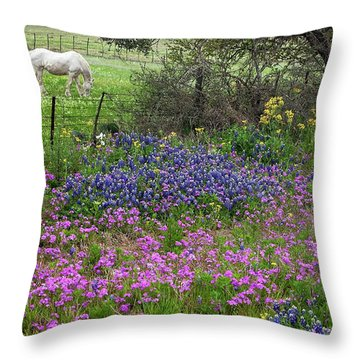 Bluebonnets And Pure Texas  Throw Pillow
