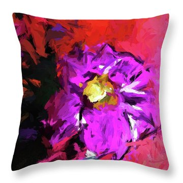 Purple And Yellow Flower And The Red Wall Throw Pillow