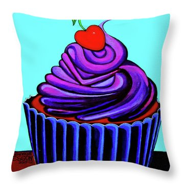 Purple Cupcake With Cherry Throw Pillow