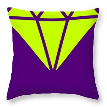 Purple Diamond Yellow Throw Pillow