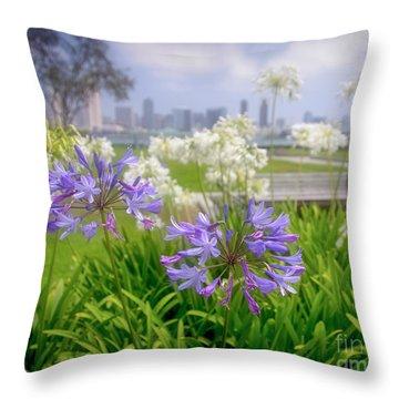 Purple Flowers In San Diego Throw Pillow