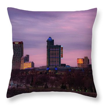 Purple Haze Skyline Throw Pillow