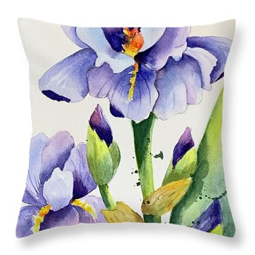 Purple Iris And Buds Throw Pillow