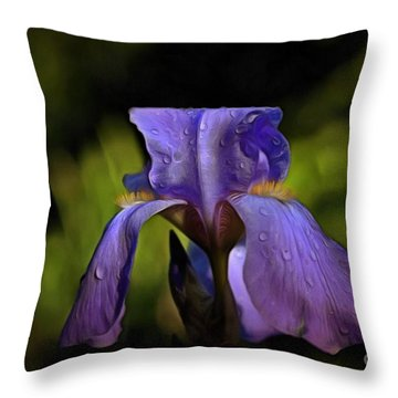 Purple Iris And Dewdrops II Throw Pillow