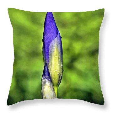 Purple Iris Bud Throw Pillow