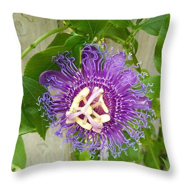 Purple Passionflower Throw Pillow