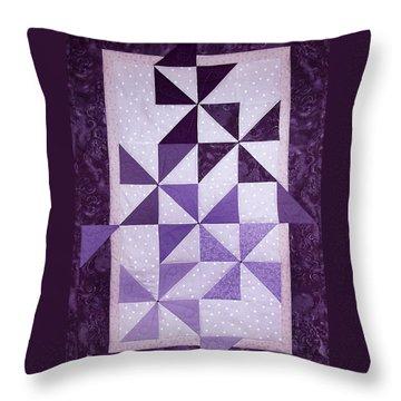 Purple Pinwheels Pirouetting Throw Pillow