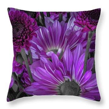 Purple Power Chrysanthemum  Throw Pillow