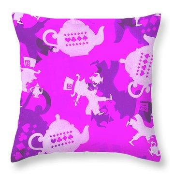 Purple Tea Party Throw Pillow