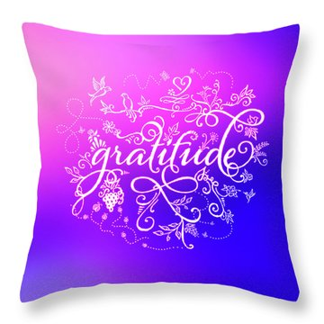 Purply Pink Gratitude Throw Pillow