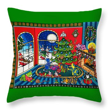 Purrfect Christmas Cat Painting Throw Pillow