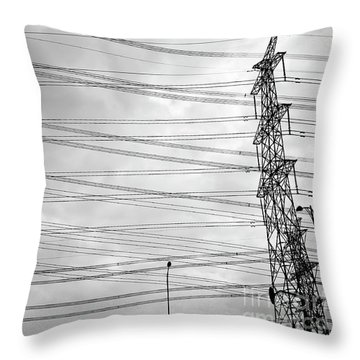 Pylon And Wires Throw Pillow