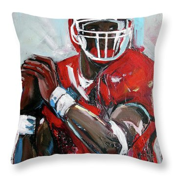 Throw Pillow featuring the painting Quarterback by John Jr Gholson