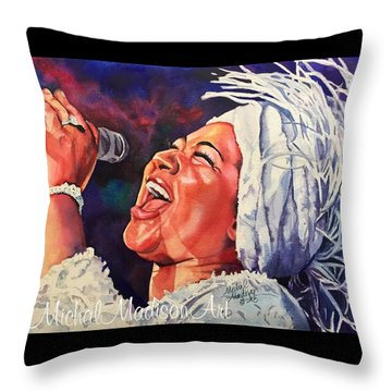 Throw Pillow featuring the painting Queen Of Soul by Michal Madison