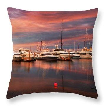 Quiet Evening On The Marina Throw Pillow