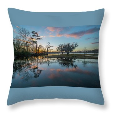 Quiet River Sunset Throw Pillow