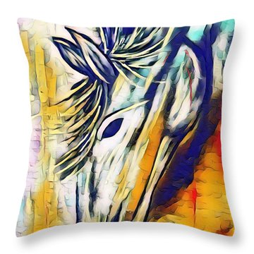 Throw Pillow featuring the mixed media Quiet Strength by Jessica Eli