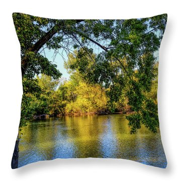 Throw Pillow featuring the photograph Quite Idaho Evening On The Boise River by Jon Burch Photography