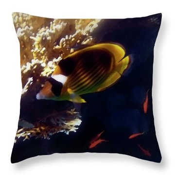 Throw Pillow featuring the photograph Raccoon Butterflyfish And Red Sea Anthias by Johanna Hurmerinta