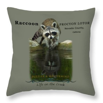 Raccoon Puzzler And Mastermind Throw Pillow