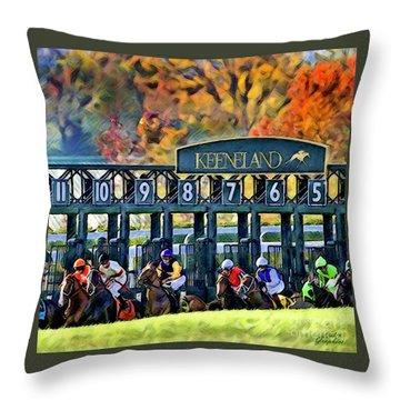 Fall Racing At Keeneland  Throw Pillow