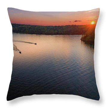 Racing The Sun Throw Pillow