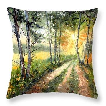 Radiant Sun On The Autumn Sky Throw Pillow