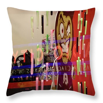 Throw Pillow featuring the photograph Radio City Reflection by Steve Stanger