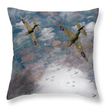 Raf Spitfires Swoop On Heinkels In Battle Of Britain Throw Pillow