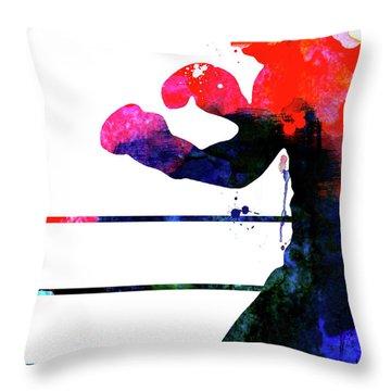 Raging Bull Watercolor Throw Pillow