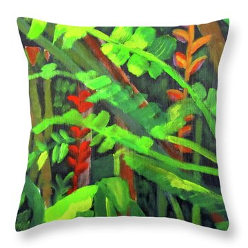 Throw Pillow featuring the painting Rain Forest Memories by Linda Feinberg