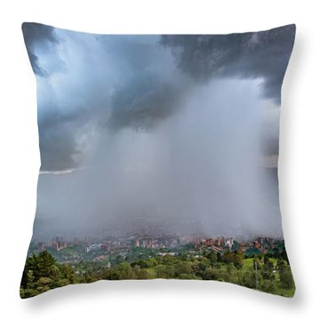 Throw Pillow featuring the photograph Rain Storm Over Medellin by Francisco Gomez